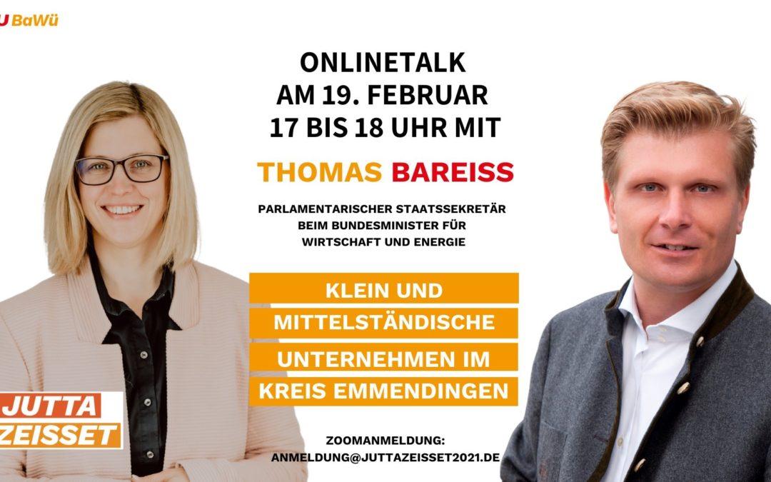 """OnlineTalk """"Jutta will´s wissen"""" mit Wirtschafts-Staatssekretär Thomas Bareiß"""